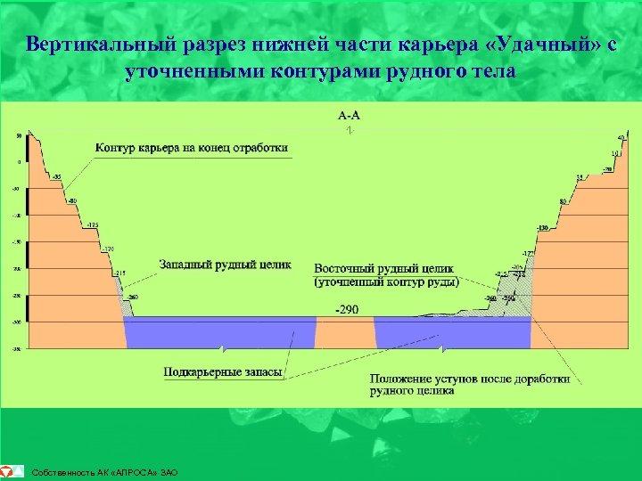 Вертикальный разрез нижней части карьера «Удачный» с уточненными контурами рудного тела Собственность АК «АЛРОСА»