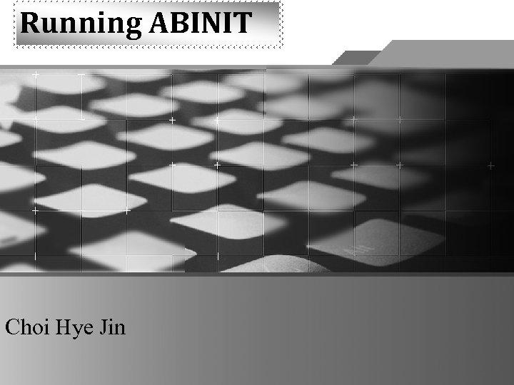 Running ABINIT Choi Hye Jin