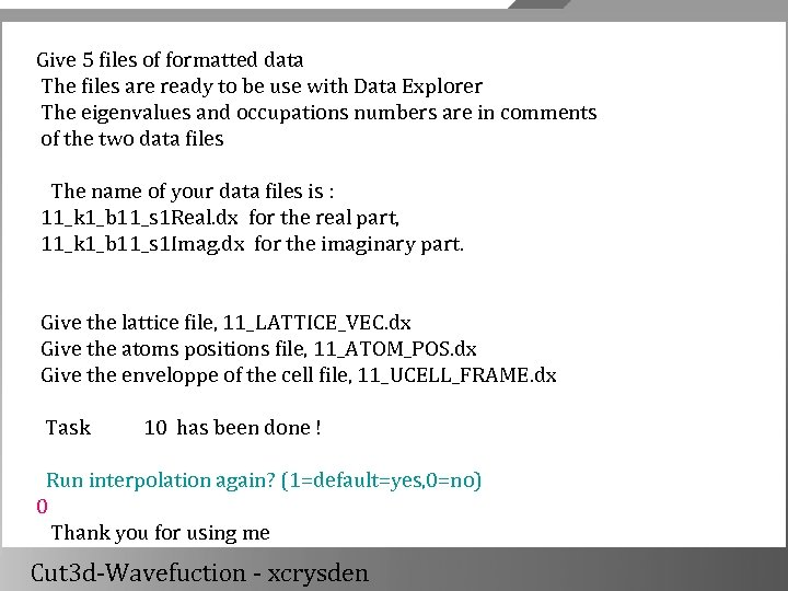 Give 5 files of formatted data The files are ready to be use with