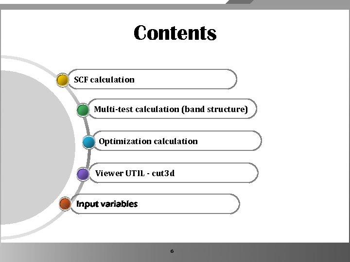 Contents SCF calculation Multi-test calculation (band structure) Optimization calculation Viewer UTIL - cut 3