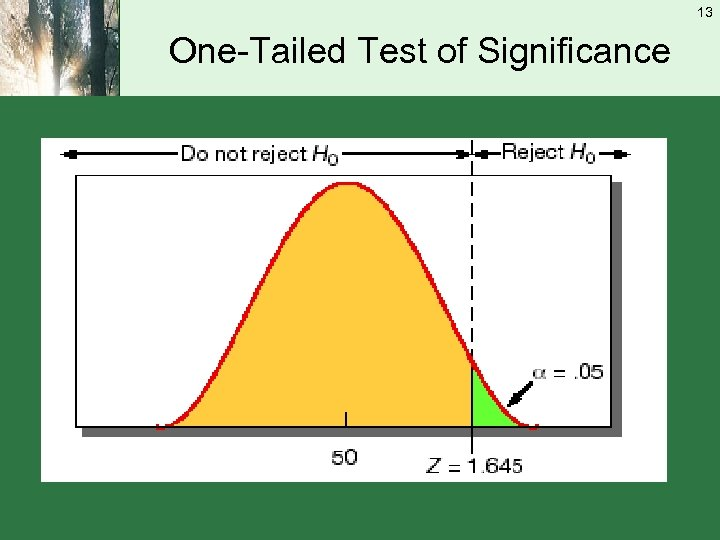 13 One-Tailed Test of Significance