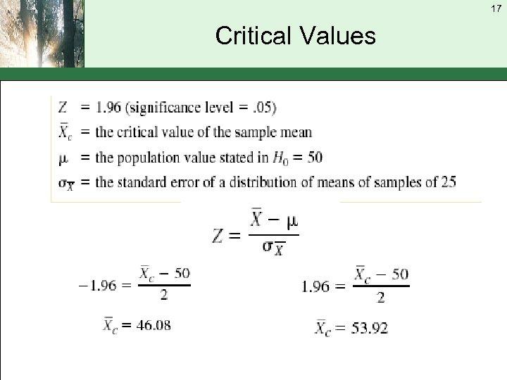 17 Critical Values