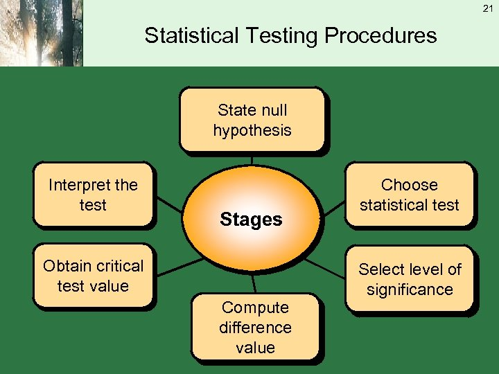 21 Statistical Testing Procedures State null hypothesis Interpret the test Stages Obtain critical test