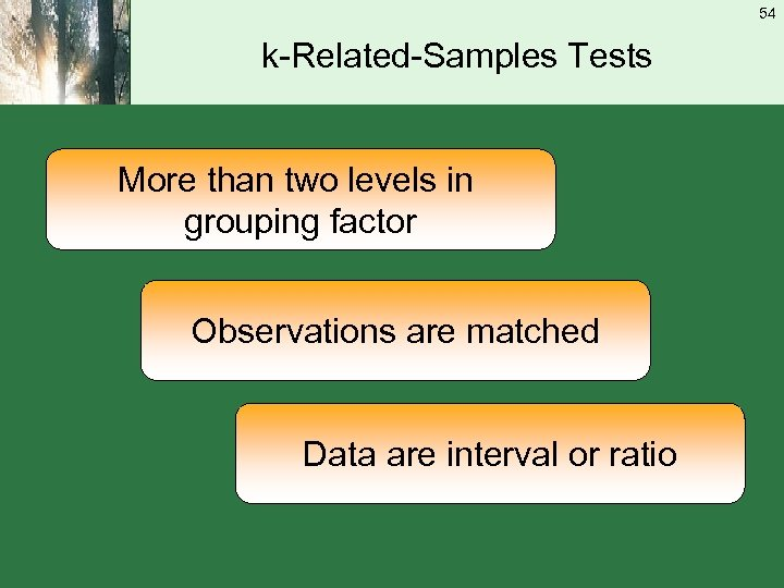 54 k-Related-Samples Tests More than two levels in grouping factor Observations are matched Data