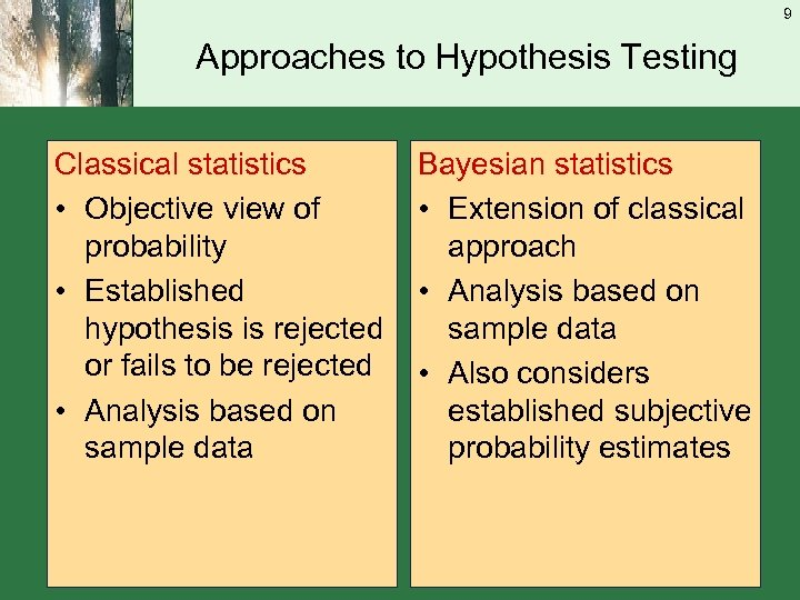 9 Approaches to Hypothesis Testing Classical statistics • Objective view of probability • Established