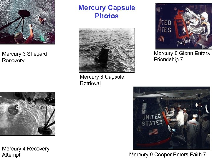 Mercury Capsule Photos Mercury 6 Glenn Enters Friendship 7 Mercury 3 Shepard Recovery Mercury