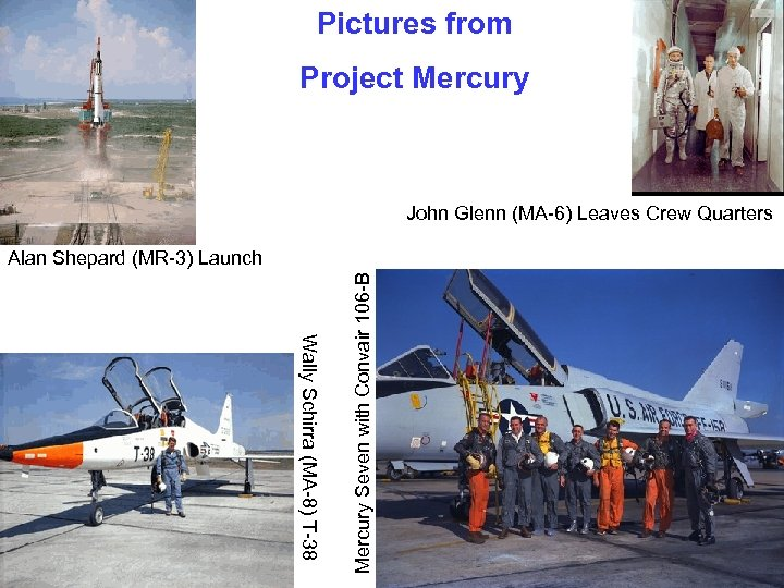 Pictures from Project Mercury John Glenn (MA-6) Leaves Crew Quarters Wally Schirra (MA-8) T-38