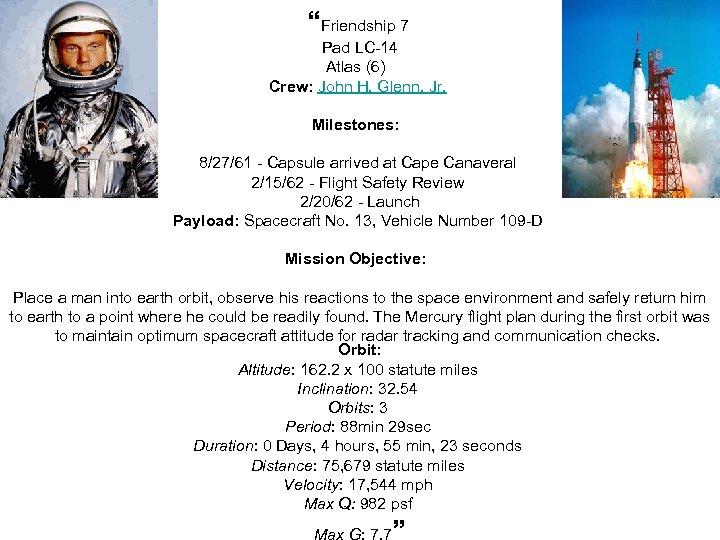 """Friendship 7 Pad LC-14 Atlas (6) Crew: John H. Glenn, Jr. Milestones: 8/27/61 -"