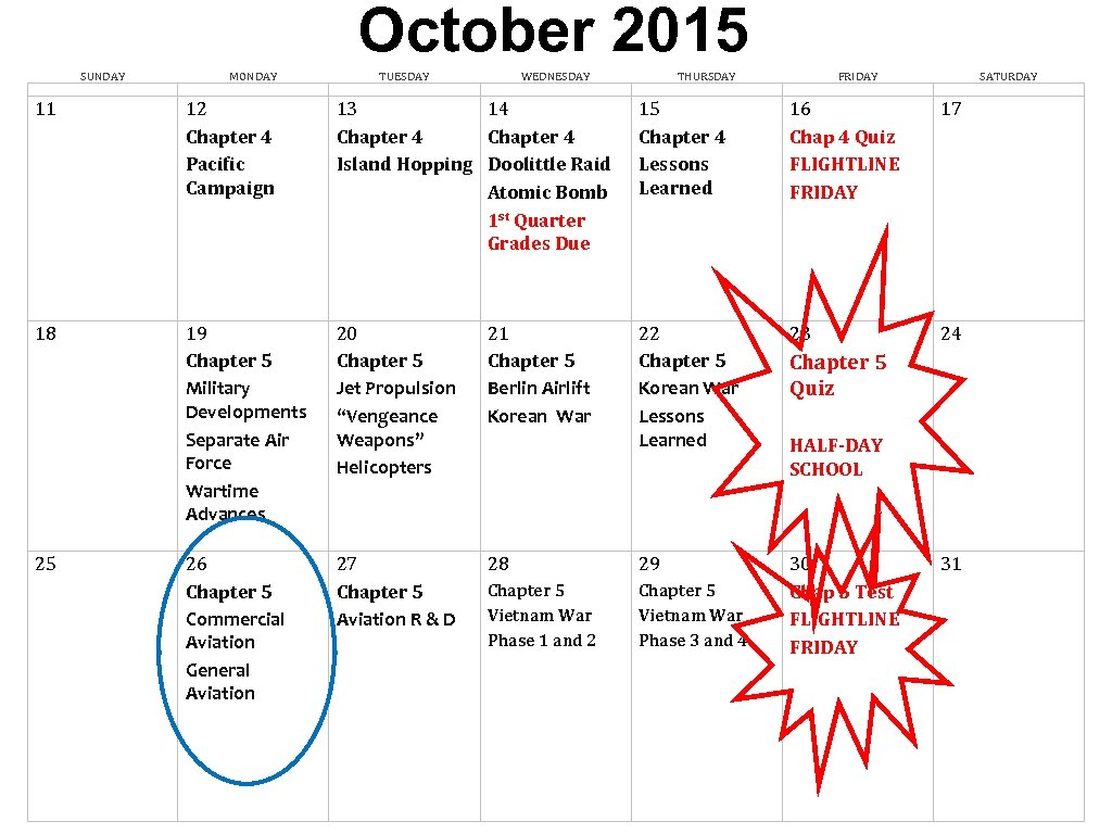October 2015 SUNDAY MONDAY TUESDAY WEDNESDAY 11 12 Chapter 4 Pacific Campaign 13 14