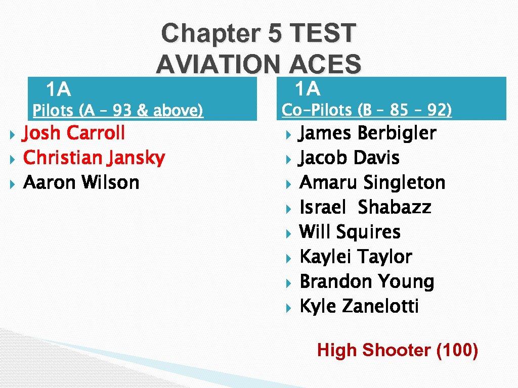• 1 A Chapter 5 TEST AVIATION ACES Pilots (A – 93 &