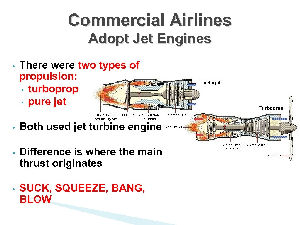 Commercial Airlines Adopt Jet Engines • There were two types of propulsion: • turboprop