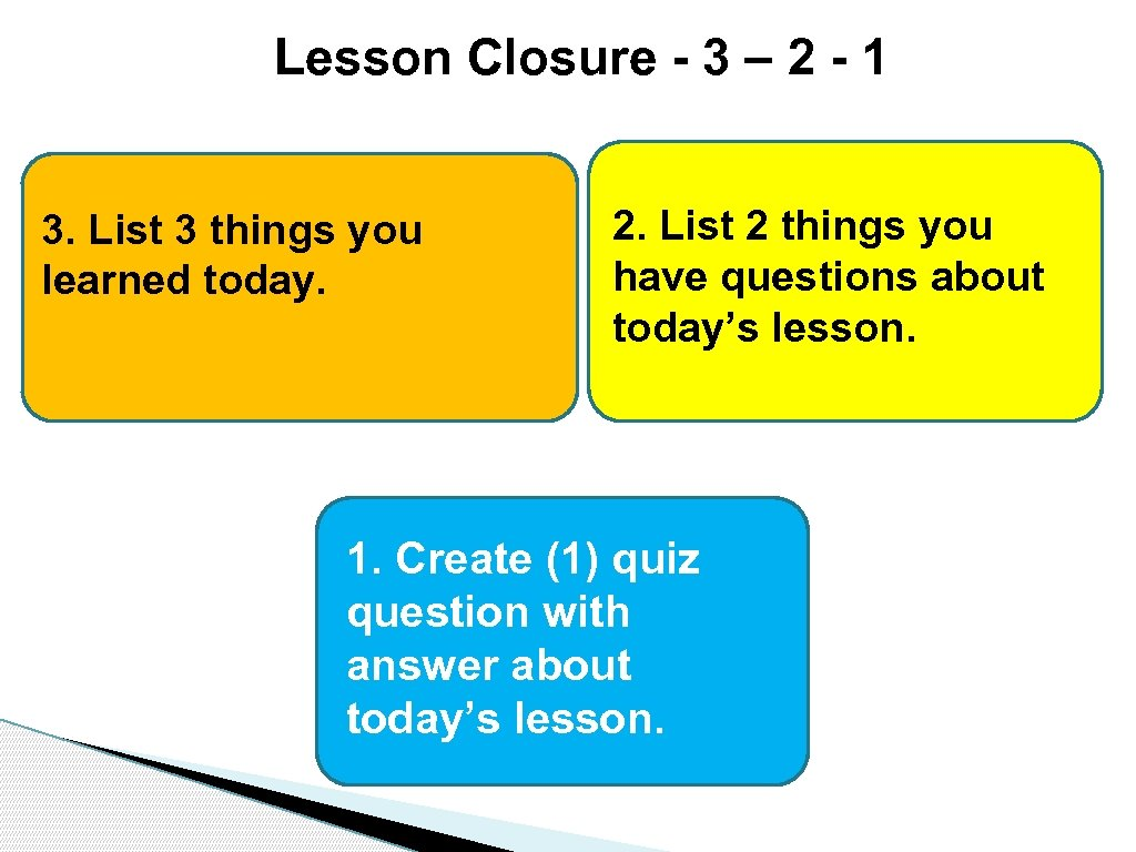 Lesson Closure - 3 – 2 - 1 3. List 3 things you learned