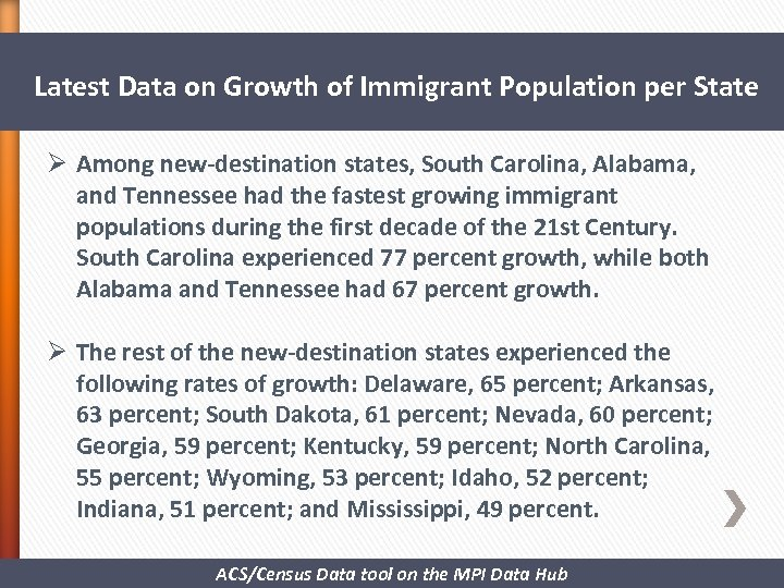 Latest Data on Growth of Immigrant Population per State Ø Among new-destination states,