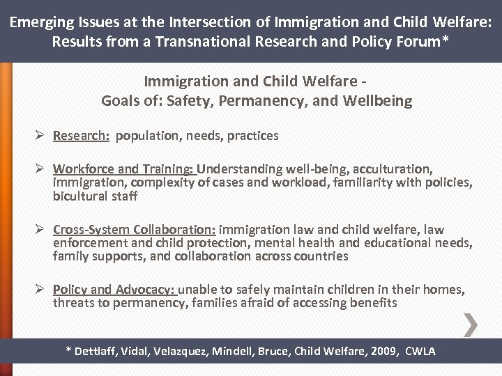 Emerging Issues at the Intersection of Immigration and Child Welfare: Results from a Transnational