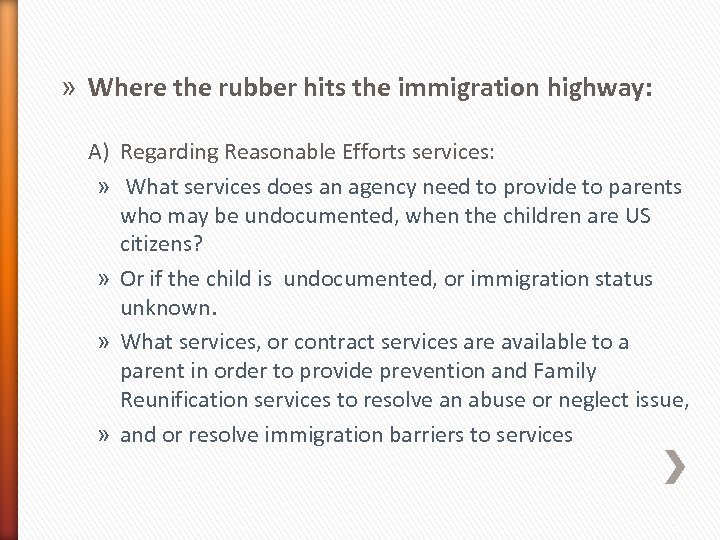 » Where the rubber hits the immigration highway: A) Regarding Reasonable Efforts services: »