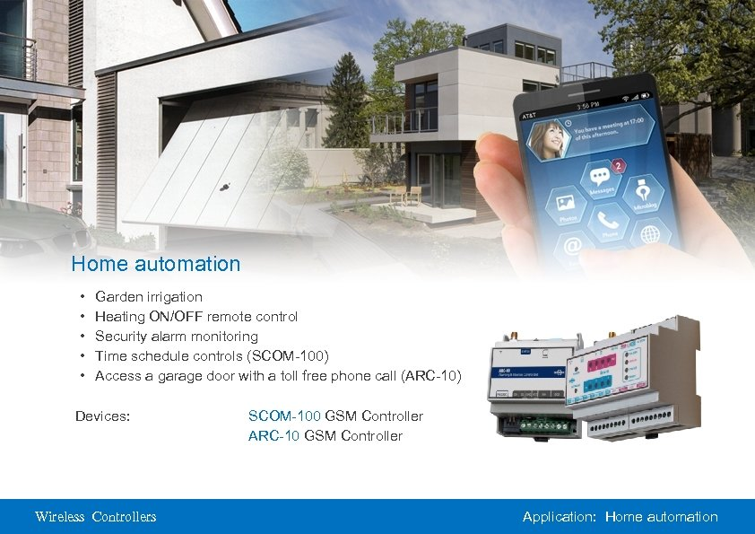 Home automation • • • Garden irrigation Heating ON/OFF remote control Security alarm monitoring
