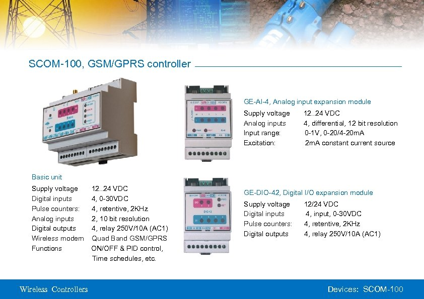 SCOM-100, GSM/GPRS controller GE-AI-4, Analog input expansion module Supply voltage Analog inputs Input range: