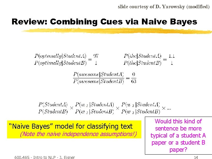 slide courtesy of D. Yarowsky (modified) Review: Combining Cues via Naive Bayes 1 2