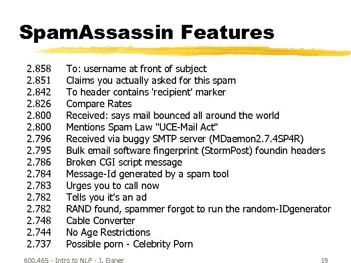 Spam. Assassin Features 2. 858 2. 851 2. 842 2. 826 2. 800 2.