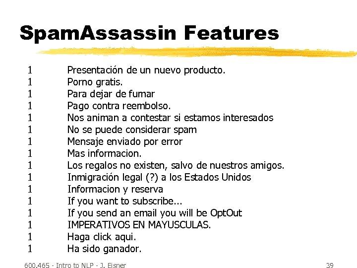 Spam. Assassin Features 1 1 1 1 Presentación de un nuevo producto. Porno gratis.