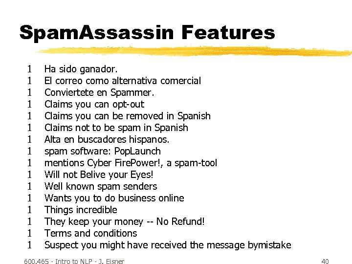 Spam. Assassin Features 1 1 1 1 Ha sido ganador. El correo como alternativa