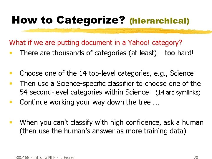How to Categorize? (hierarchical) What if we are putting document in a Yahoo! category?