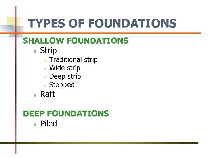 TYPES OF FOUNDATIONS SHALLOW FOUNDATIONS n Strip n n n Traditional strip Wide strip