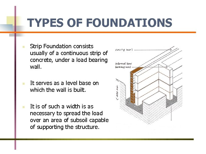 TYPES OF FOUNDATIONS n n n Strip Foundation consists usually of a continuous strip