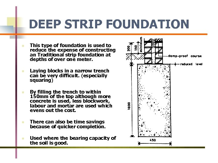 DEEP STRIP FOUNDATION n n n This type of foundation is used to reduce