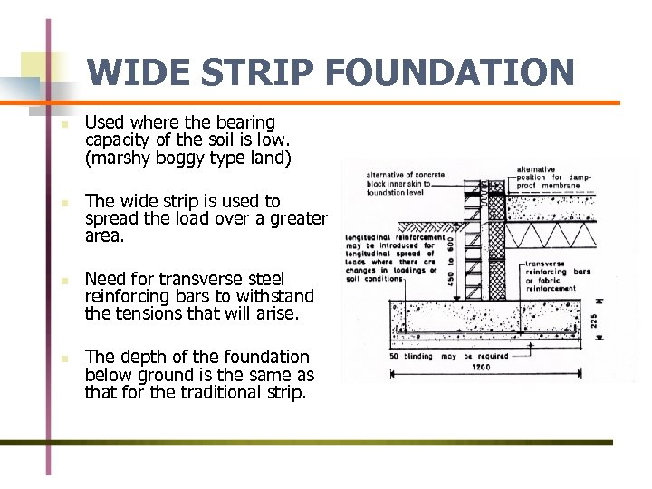 WIDE STRIP FOUNDATION n n Used where the bearing capacity of the soil is