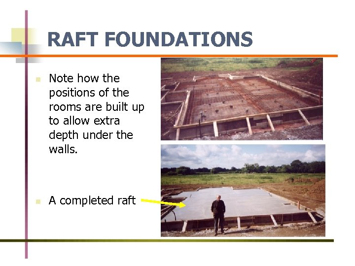 RAFT FOUNDATIONS n n Note how the positions of the rooms are built up