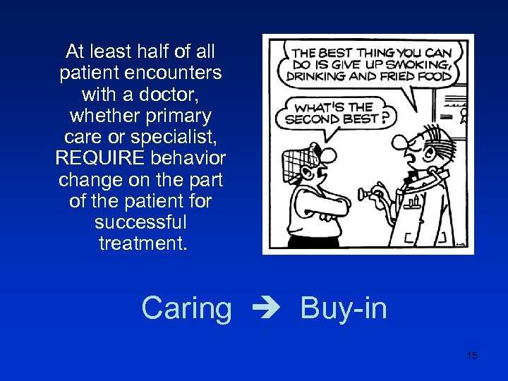 At least half of all patient encounters with a doctor, whether primary care or