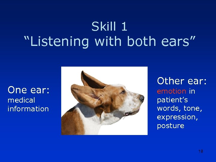 """Skill 1 """"Listening with both ears"""" One ear: medical information Other ear: emotion in"""