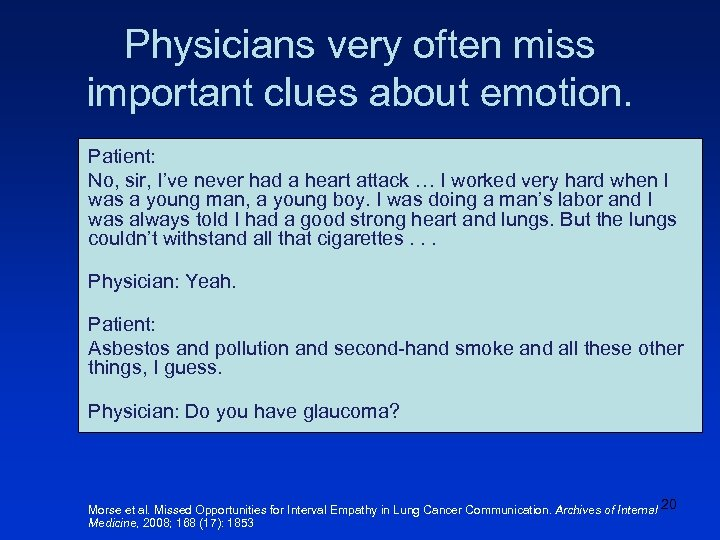 Physicians very often miss important clues about emotion. Patient: No, sir, I've never had