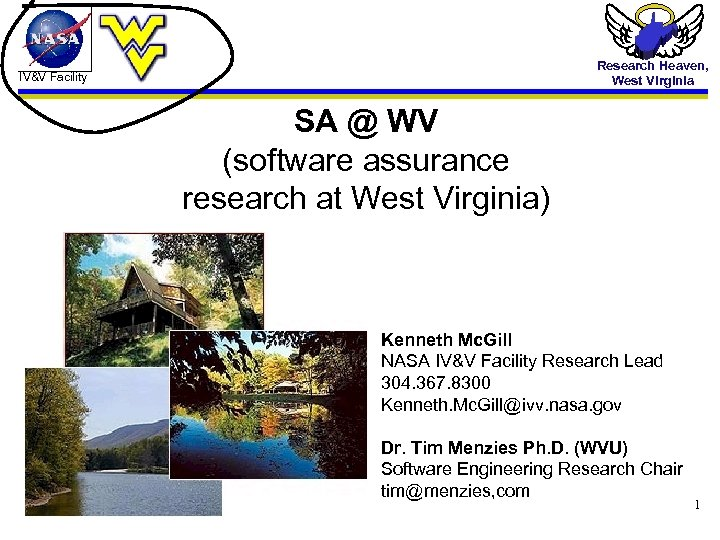 Research Heaven, West Virginia IV&V Facility SA @ WV (software assurance research at West