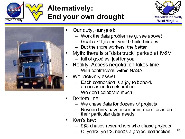 IV&V Facility Alternatively: End your own drought Research Heaven, West Virginia • Our duty,