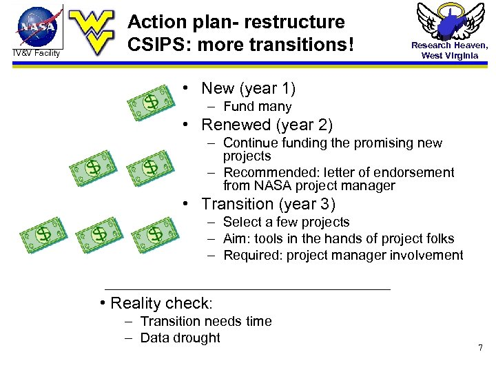 IV&V Facility Action plan- restructure CSIPS: more transitions! Research Heaven, West Virginia • New