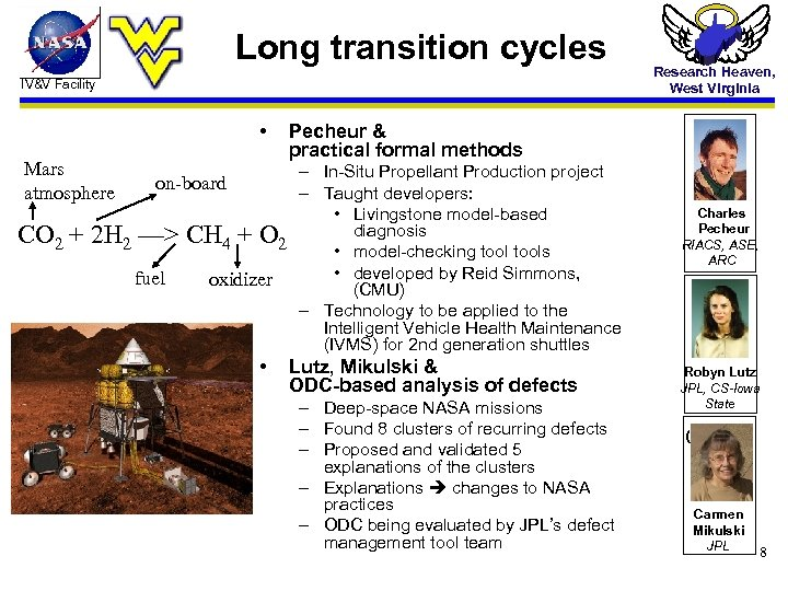 Long transition cycles IV&V Facility • Mars atmosphere Research Heaven, West Virginia Pecheur &