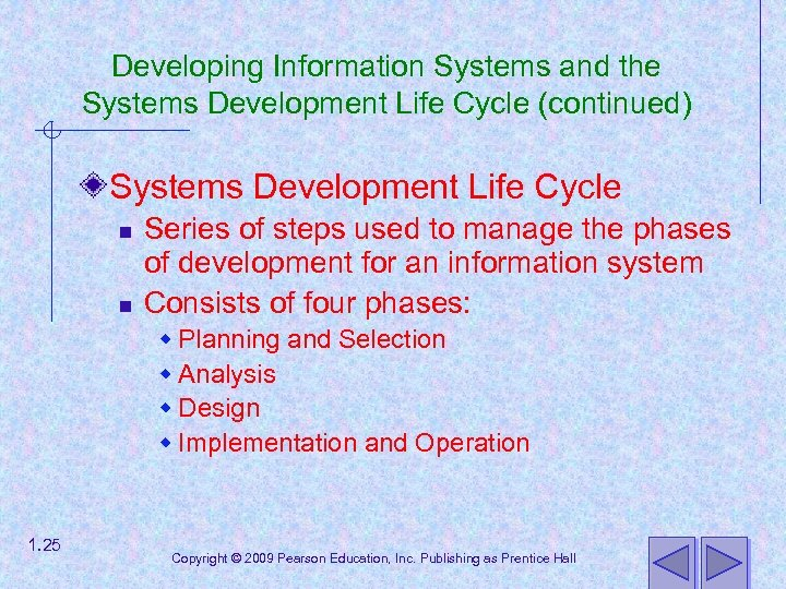Developing Information Systems and the Systems Development Life Cycle (continued) Systems Development Life Cycle