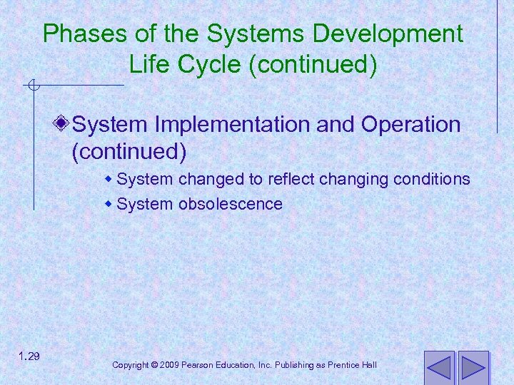 Phases of the Systems Development Life Cycle (continued) System Implementation and Operation (continued) w
