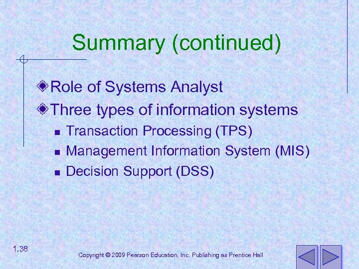 Summary (continued) Role of Systems Analyst Three types of information systems n n n
