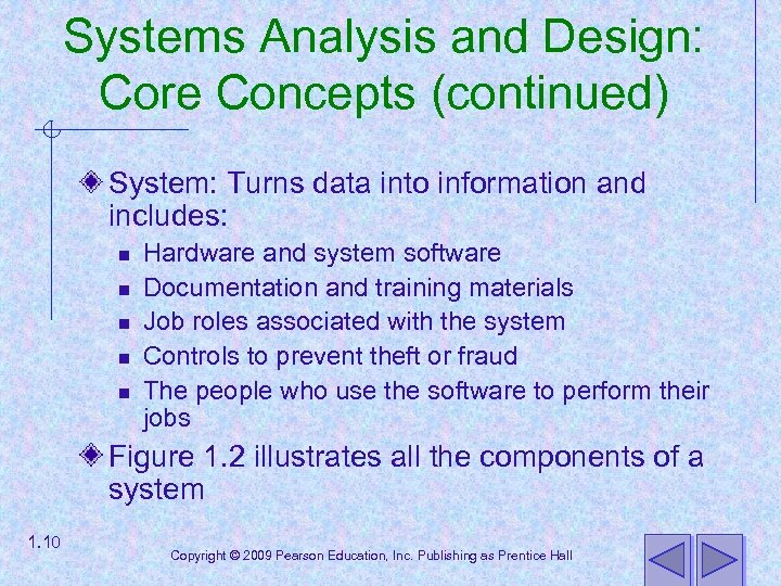 Systems Analysis and Design: Core Concepts (continued) System: Turns data into information and includes: