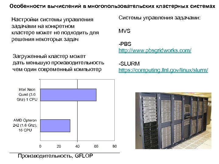 Особенности вычислений в многопользовательских кластерных системах Настройки системы управления задачами на конкретном кластере может