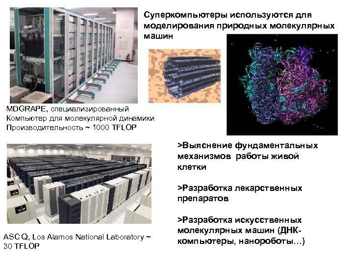Суперкомпьютеры используются для моделирования природных молекулярных машин MDGRAPE, специализированный Компьютер для молекулярной динамики Производительность