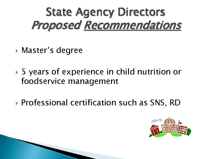 State Agency Directors Proposed Recommendations Master's degree 5 years of experience in child nutrition