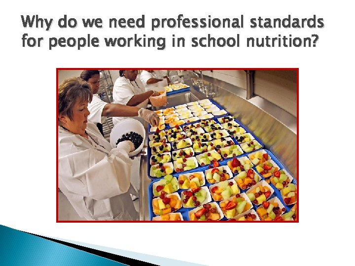 Why do we need professional standards for people working in school nutrition?