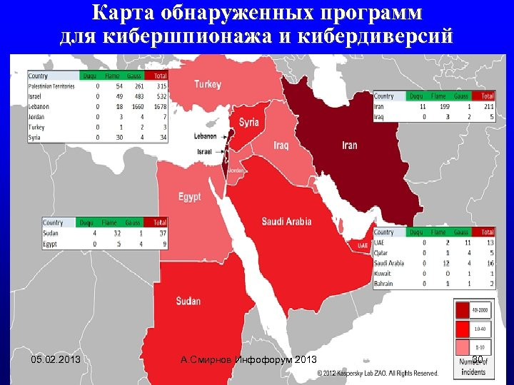 Карта обнаруженных программ для кибершпионажа и кибердиверсий 05. 02. 2013 А. Смирнов Инфофорум 2013