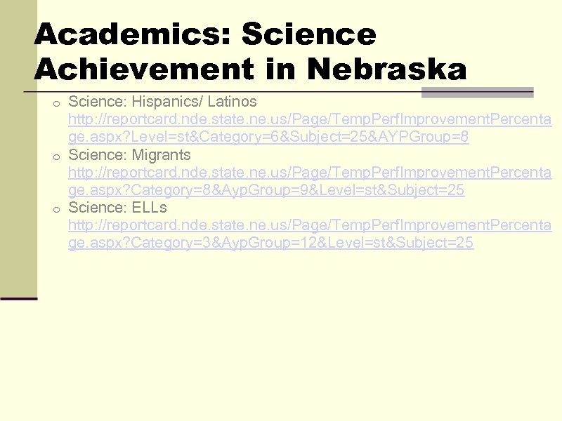 Academics: Science Achievement in Nebraska Science: Hispanics/ Latinos http: //reportcard. nde. state. ne. us/Page/Temp.