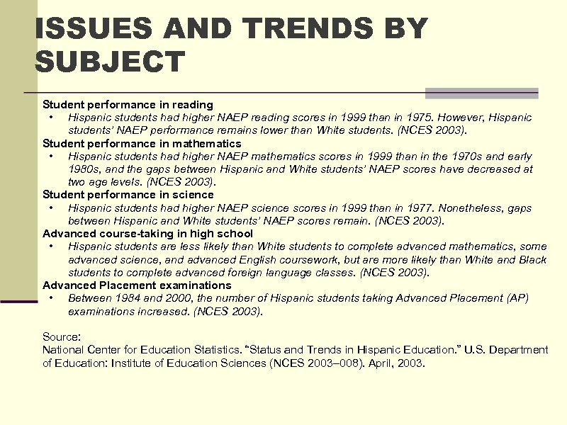 ISSUES AND TRENDS BY SUBJECT Student performance in reading • Hispanic students had higher
