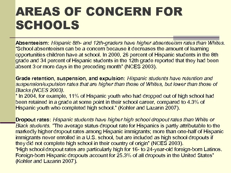 AREAS OF CONCERN FOR SCHOOLS Absenteeism: Hispanic 8 th- and 12 th-graders have higher